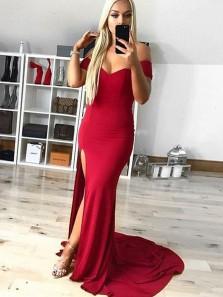 Charming Mermaid Sweetheart Elastic Satin Slit Red Long Prom Dresses, Elegant Evening Dresses