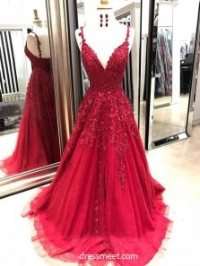 Gorgeous A Line V Neck Spaghetti Straps Open Back Dark Red Long Prom Dresses with Appliques, Formal Elegant Evening Party Dresses PD0829003