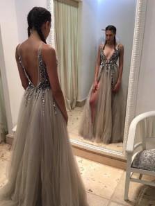 Sexy V Neck Grey Long Prom Dress with Side Slit, 2018 Prom Dress, Party Dress, Formal Evening Dress PD001