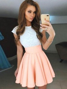 A-Line Boat Neck Above Knee Junior Lace Prom Dress Homecoming Dress Evening Dress Party Dress