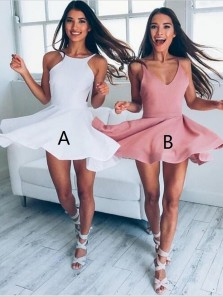 Cute A-Line V-Neck Brush Stain Junior Short Party Homecoming Dress Under 100, Mini Prom Dresses