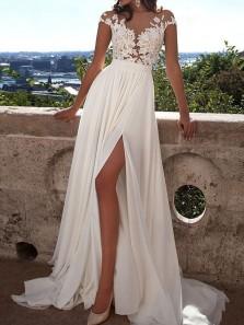 Popular Beach Round Neck A-line White Long Chiffon Wedding Dress With Applique WD001