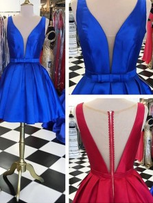Vintage Sexy A-Line Deep V-Neck Party Junior Homecoming Dress Under 100$