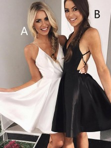 A-Line V-Neck Backless Party Dress Homecoming Dress Under 100$ Sexy Black Dress