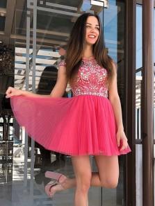 Cute A-Line Crease Dress Cute Cute Straps Beads Short Prom Dress Homecoming Dresses, Short Prom Dresses HC0017
