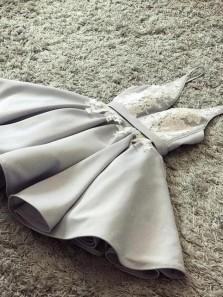 A-Line Sexy Deep-V-Neck Grey Short Prom Dresses Evening Party Dress, Short Homecoming Dresses PY001