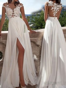 Popular Beach Round Neck A-line White Long Chiffon Wedding Dress With Applique WD001