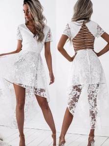 Homecoming A-Line V-Neck Lace-Up High Low White Lace Dress