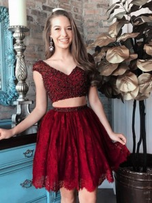 A-line V-Neck Cap Sleeve Beads Two-Piece Stain Homecoming Dress