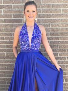 Gorgeous Halter Royal Blue Long Prom Dress with Slit