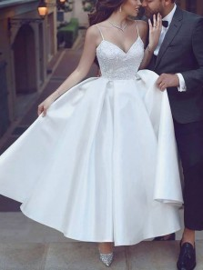 Cute A-Line V Neck Spaghetti Straps Ankle Length Satin Wedding Dresses with Appliques