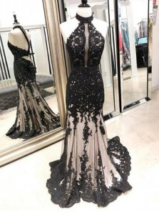 Mermaid Halter Open Back Black Lace Long Prom Dresses, Chic Evening Dresses