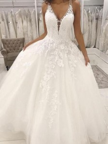 Ball Gown V Neck Open Back White Lace Long Wedding Dresses, Lace Wedding Gowns