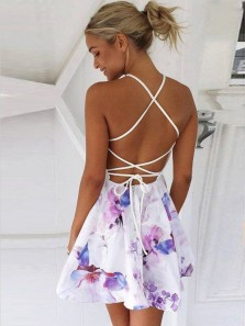A Line Two Piece Cross Back Floral Satin Short Homecoming Dresses, Short Prom Dresses HD0105001