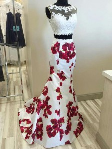 Mermaid Two Piece Scoop Open Back White Lace Long Prom Dresses, Floral Evening Dresses PD0105002
