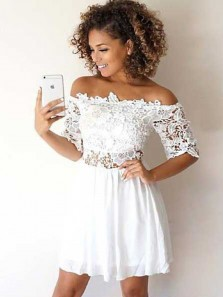 A Line Off the Shoulder Half Sleeves White Lace Short Homecoming Dresses, Two Piece Short Prom Dresses