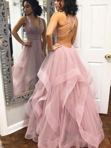 A Line V Neck Cross Back Blush Pink Tulle Long Prom Dresses, Quinceanera Dresses