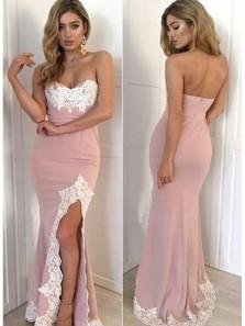 Mermaid Sweetheart Strapless Split Blush Pink Long Prom Dresses, Lace Evening Dresses