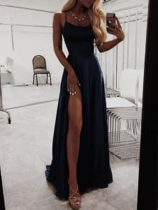 Simple A Line Spaghetti Straps Cross Back Long Prom Dresses Under 100, Cheap Long Evening Dresses PD0105006
