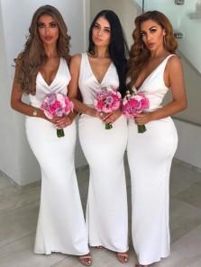 Mermaid V Neck Open Back White Long Bridesmaid Dresses, Satin Bridesmaid Dresses