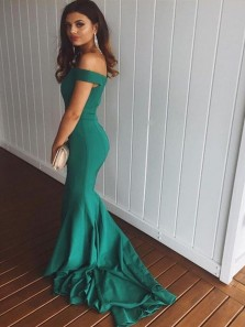 Elegant Simple Off the Shoulder Green Elastic Satin Long Prom Dresses, Chic Evening Dresses