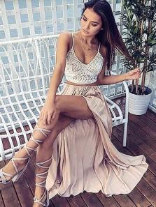 A Line V Neck Spaghetti Straps Split Chiffon Long Prom Dresses, Lace Long Beach Dresses