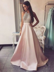 Ball Gown Round Neck Open Back Pink Satin Long Prom Dresses with Pockets, Elegant Beaded Evening Dresses PD0105009