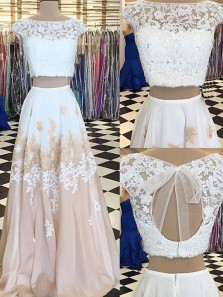 A Line Two Piece Scoop Neck Open Back White and Champagne Long Prom Dresses, Unique Evening Dresses