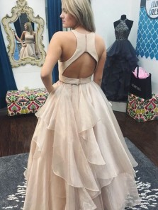Gorgeous A Line Two Piece Round Neck Pink Chiffon Long Prom Dresses with Beading, Pretty Quinceanera Dresses PD0820006