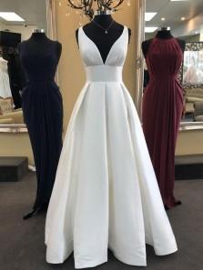 Ball Gown V Neck Open Back Ivory Satin Long Wedding Dresses