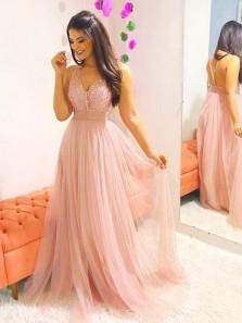 A Line V Neck Peach Beading Long Prom Dresses, Elegant Evening Dresses