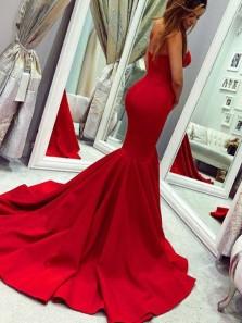 Mermaid Sweetheart Open Back Red Satin Long Prom Dresses, Elegant Evening Dresses