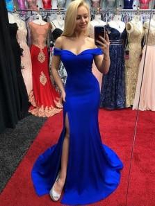 Mermaid Off the Shoulder Royal Blue Split Long Prom Dresses, Elegant Evening Dresses