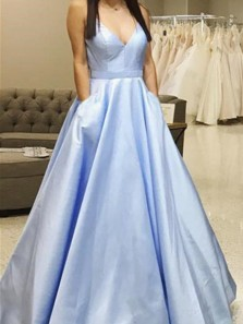 Ball Gown V Neck Cross Back Light Blue Satin Long Prom Dresses with Pockets, Simple Evening Dresses