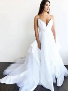 Ball Gown V Neck Spaghetti Strap White Tulle Long Wedding Dresses
