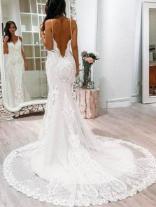 Mermaid V Neck Open Back White Lace Elegant Wedding Dresses with Train