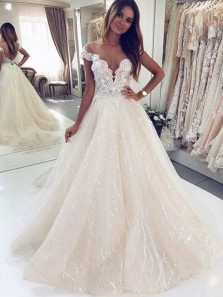 Sparkly Ball Gown Off the Shoulder V Neck Champagne Lace Long Wedding Dresses