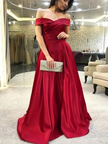 Elegant Off the Shoulder Wine /Dark Red Long Prom Dresses with Pockets, Chic Evening Dresses PD0107011