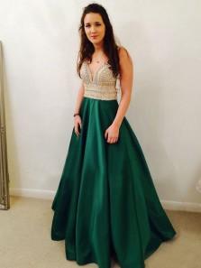 Ball Gown V Neck Open Back Dark Green Satin Long Prom Dresses with Beading, Elegant Evening Dresses
