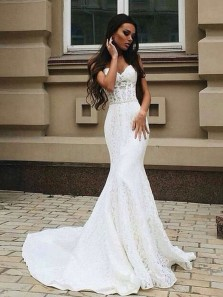 Mermaid Sweetheart White Lace Long Wedding Dresses with Court Train, Elegant Wedding Gown