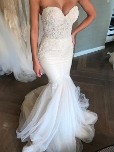 Mermaid Sweetheart Open Back White Lace Wedding Dresses with Beading, Chic Wedding Gowns WD0110002