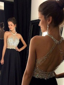 A Line Halter Open Back Beaded Black Prom Dresses, Formal Long Evening Party Dresses PD0114004