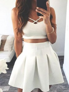 Simple Two Piece V Neck White Short Homecoming Dresses Under 100, Short Prom Dresses, White Skirt