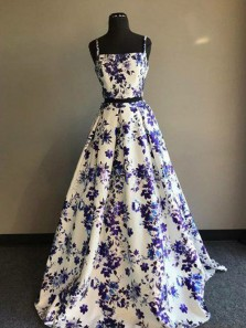 Ball Gown Two Piece Square Neck Spaghetti Straps Floral Satin Long Prom Dresses, Long Evening Dresses