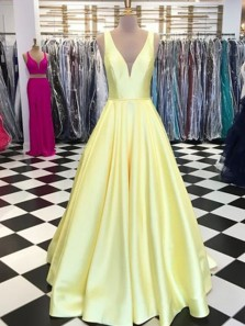 Simple Ball Gown V Neck Open Back Yellow Satin Asphodel Long Prom Dresses with Pockets