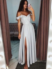 Simple A Line Off the Shoulder Split Grey Long Prom Dresses with Spaghetti Straps PD0114011
