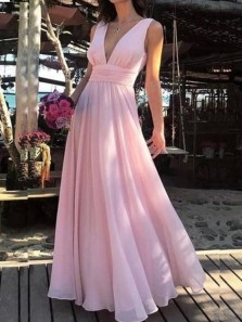 Simple A Line V Neck Open Back Ruffled Pink Bridesmaid Dresses, Elegant Bridesmaid Gowns