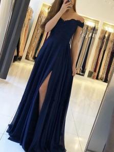 A Line Off the Shoulder Navy Chiffon Long Prom Dresses, Split Long Evening Dresses PD0114009