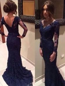 Mermaid V Neck Open Back Long Sleeves Navy Long Prom Dresses, Elegant Evening Dresses