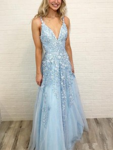 A Line V Neck Open Back Light Blue Lace Long Prom Dresses, Elegant Evening Dresses PD0116002